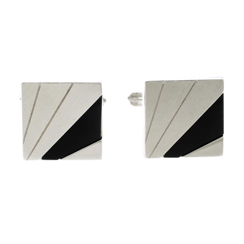 Lanvin Black Inlay Silver Tone Square Cufflinks