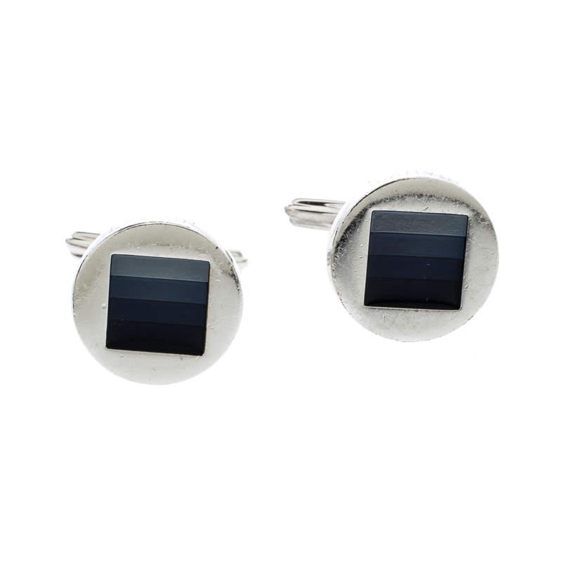 Lanvin Enamel Silver Tone Round Cufflinks