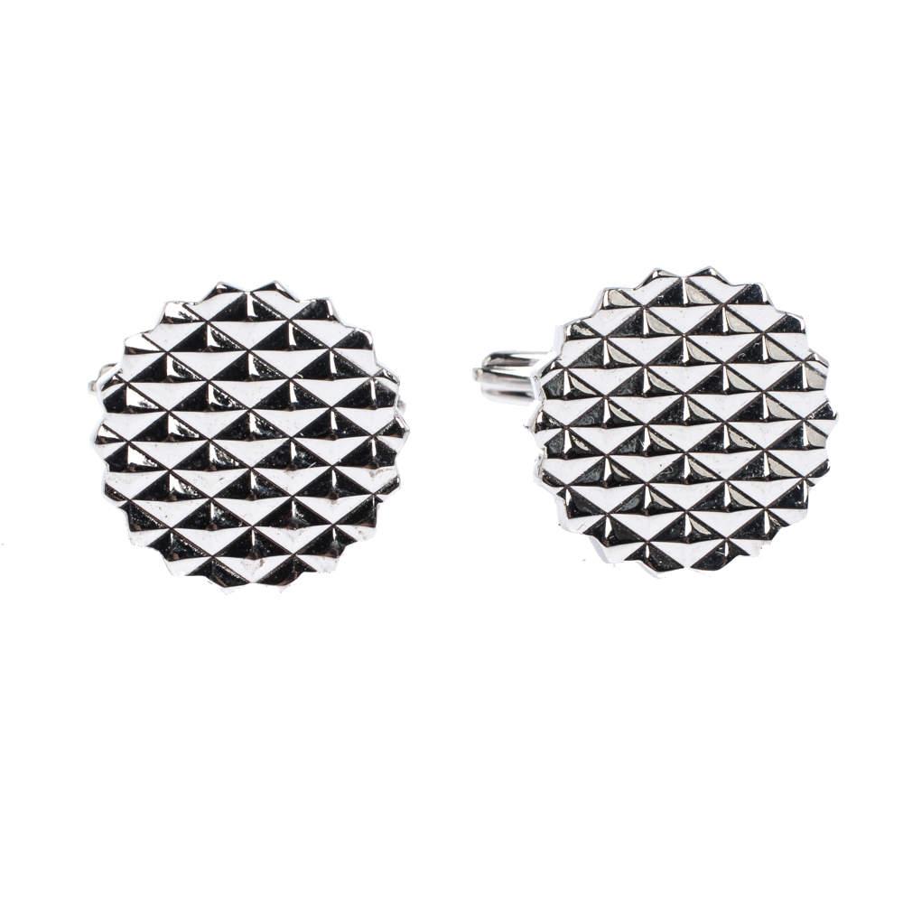 Lanvin Engraved Silver Plated Round T-Bar Cufflinks