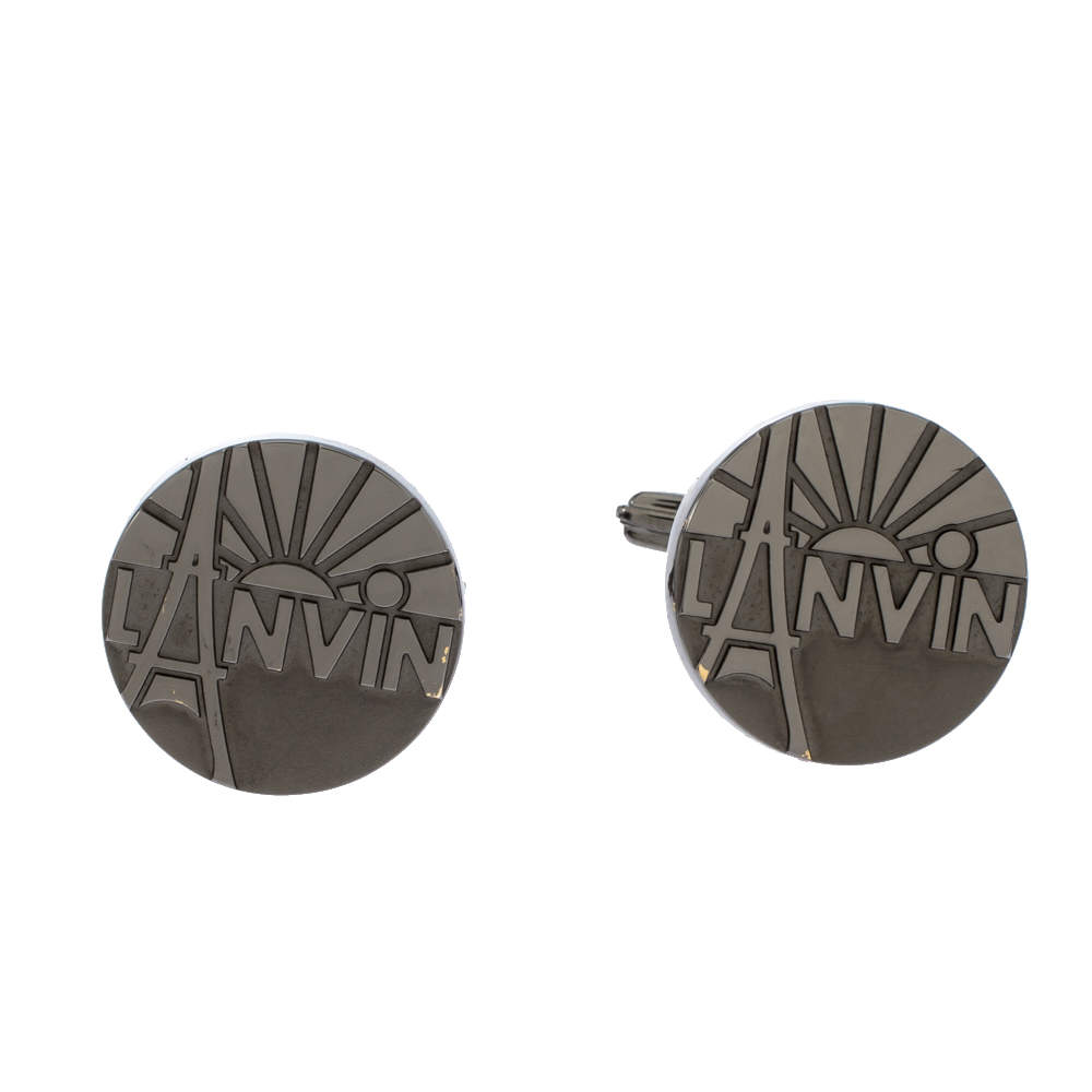 Lanvin Rhodium Plated Paris Logo Cufflinks