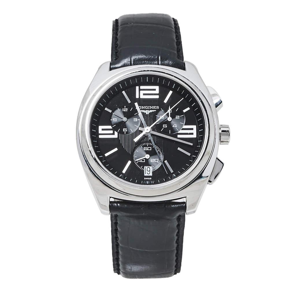 Longines Black Stainless Steel Leather LungoMare Quartz Chronograph Men's Wristwatch 42 MM