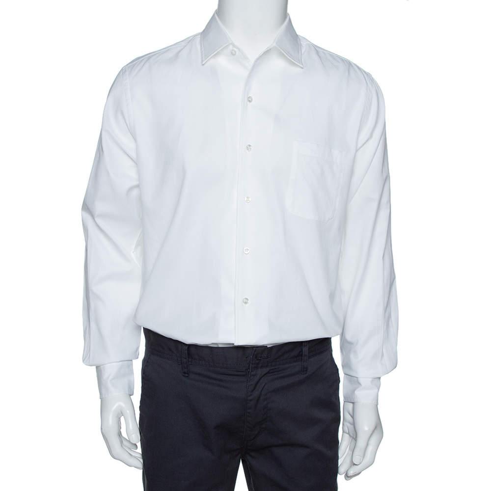 Loro Piana White Cotton Oxford Button Front André Shirt L