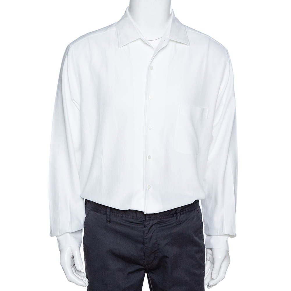 Loro Piana White Textured Cotton Long Sleeve Shirt XXL
