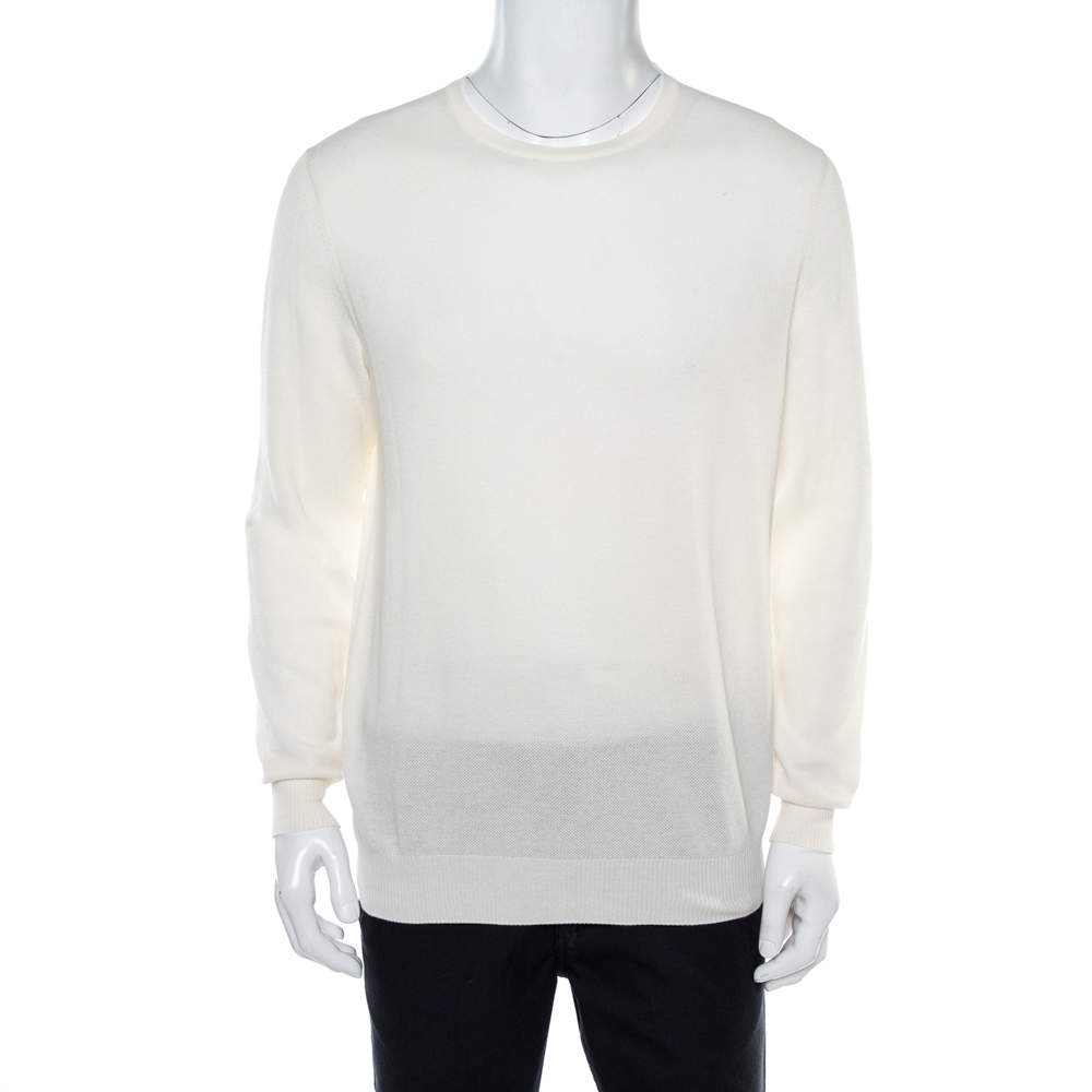 Loro Piana Off White Knit Crew Neck Jumper L