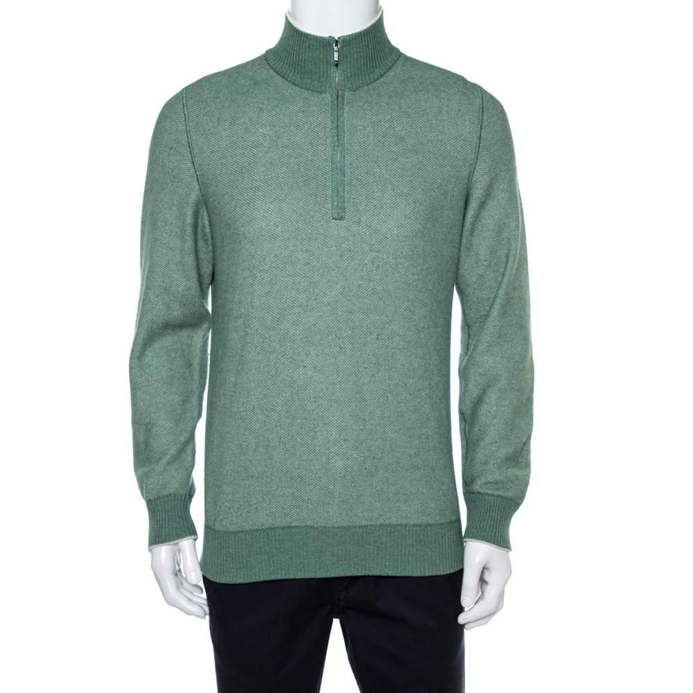 Loro Piana Sage Green Cashmere Turtleneck Sweater L