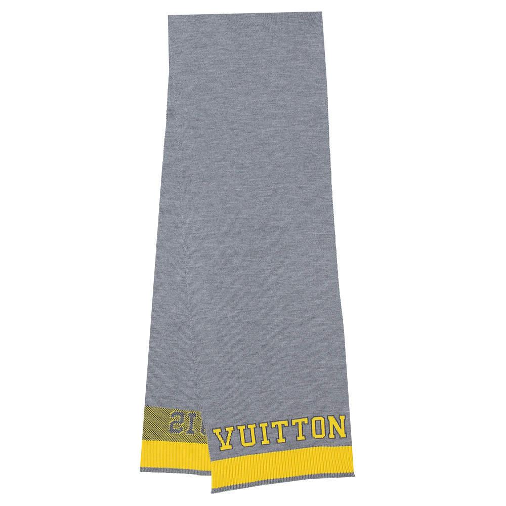 Louis Vuitton Grey & Yellow Logo Wool Louis Scarf