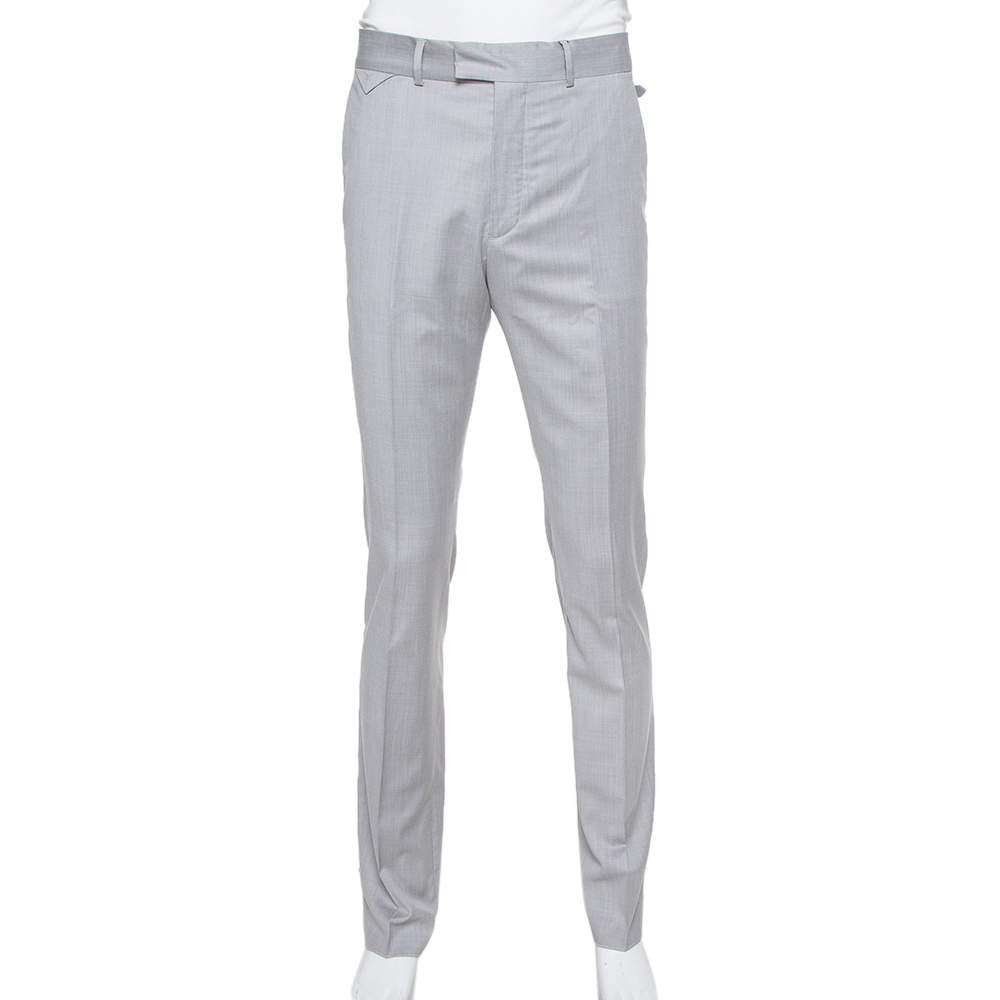 Louis Vuitton Grey Wool Classic Slim Fit Trousers L