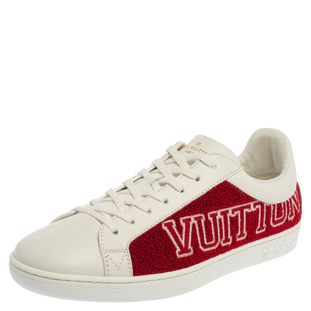 Louis Vuitton White Leather And Blue/Red Terry Fabric Luxembourg Sneakers Size 39