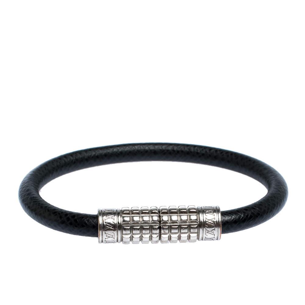 Louis Vuitton Taiga Leather Digit Palladium Plated Bracelet