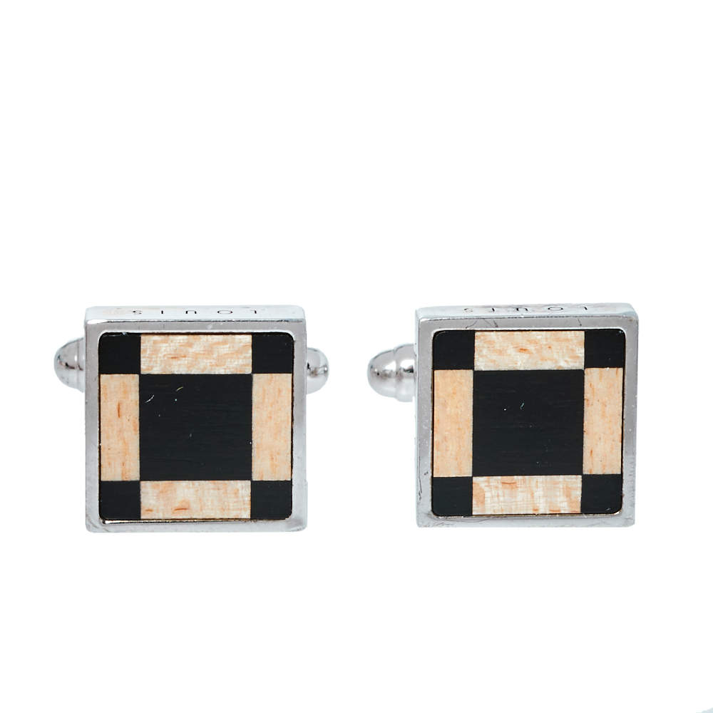 Louis Vuitton Wooden Silver Square Cufflinks