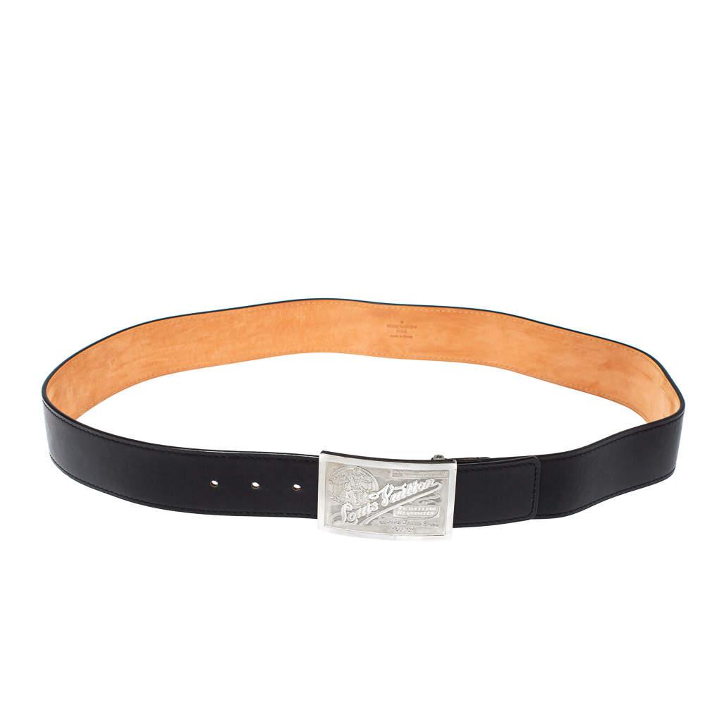 Louis Vuitton Black Leather Travelling Requisites Belt 110 CM