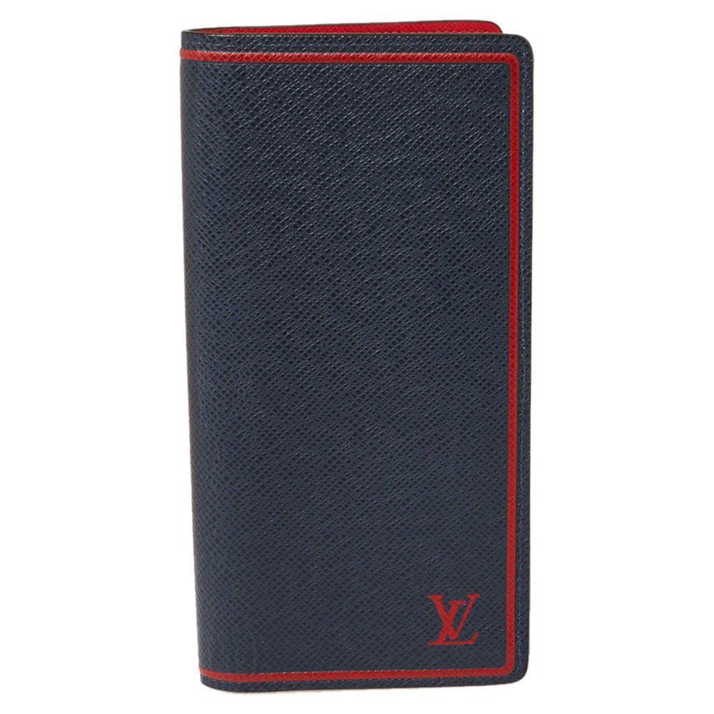Louis Vuitton Blue/Red Taiga Leather Brazza Wallet