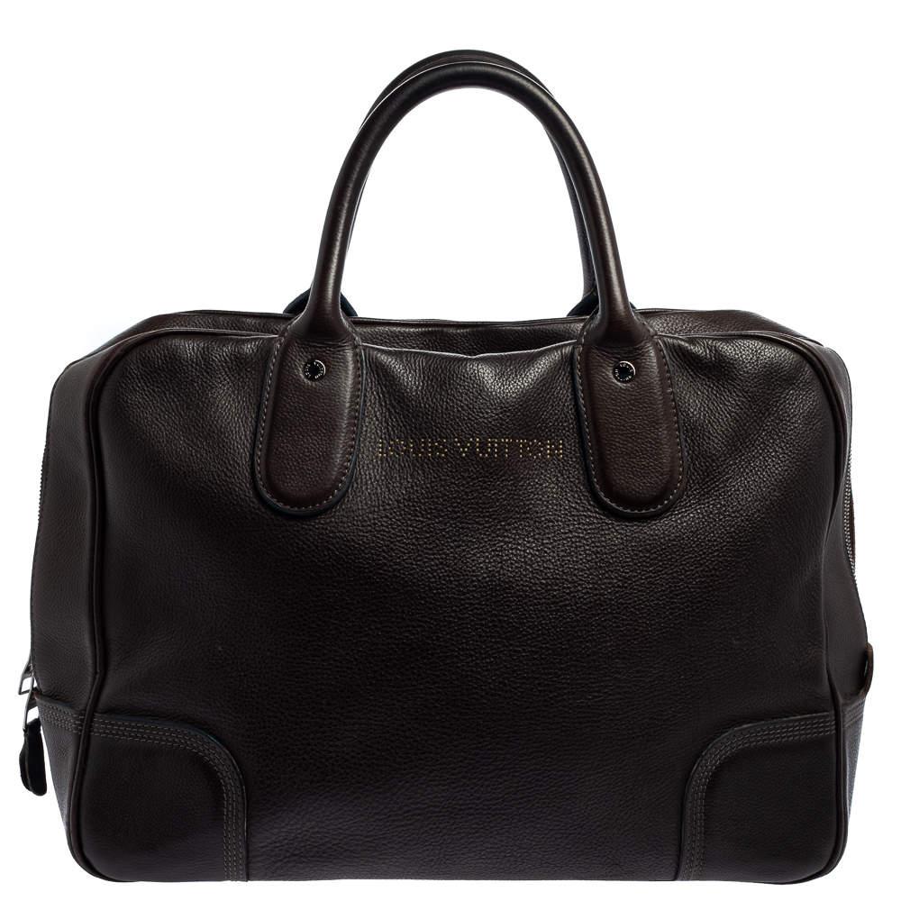 Louis Vuitton Marron Fonce Siwa Leather Soft Briefcase