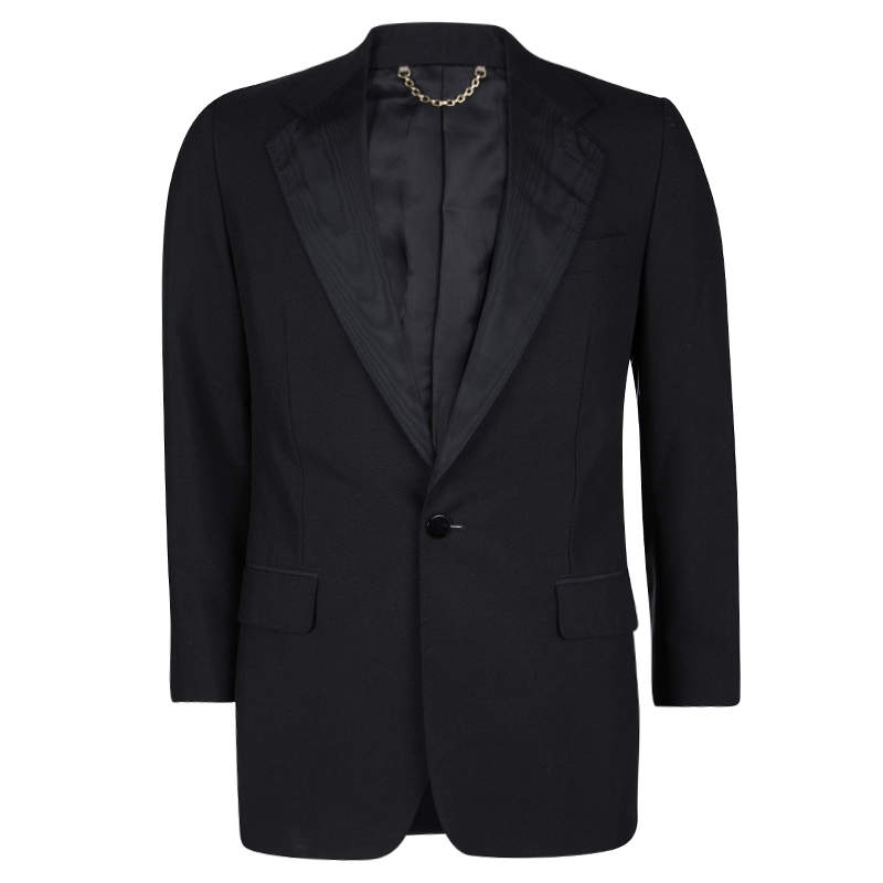Louis Vuitton Black Wool Contrast Lapel Detail Blazer XL