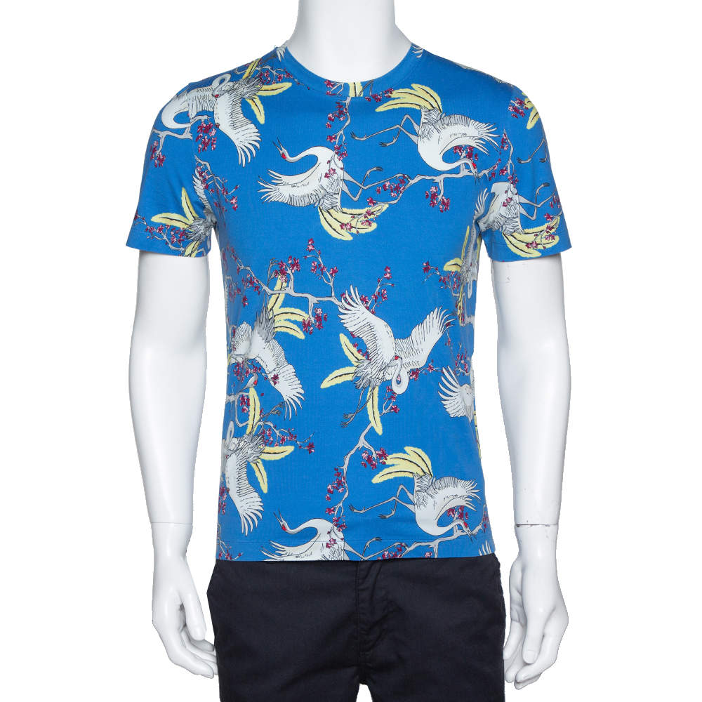 Louis Vuitton Blue Crane Print Cotton Crew Neck T-Shirt S