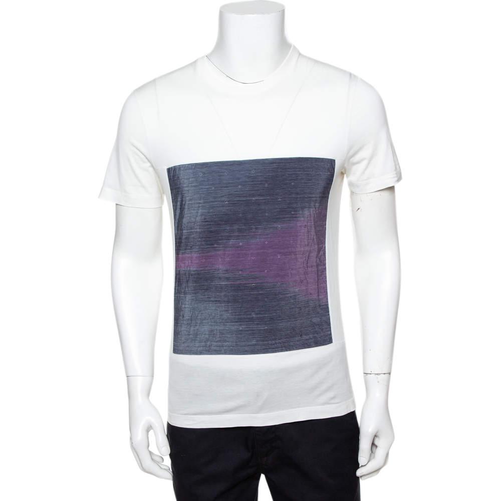Louis Vuitton White Cotton Ikat Patch Front T-Shirt S