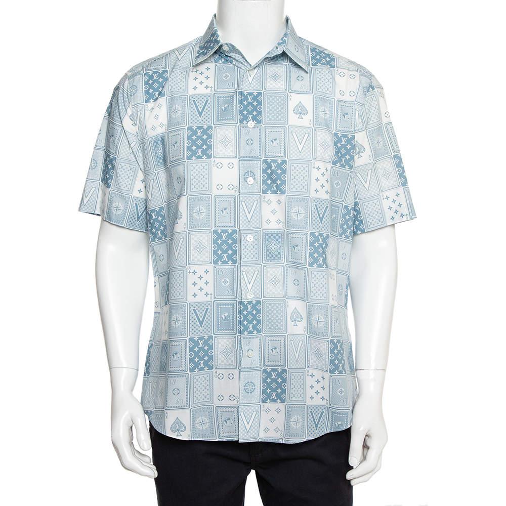 Louis Vuitton Grey & White Monogram Playing Card Printed Cotton Short Sleeve Shirt L