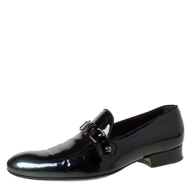 Louis Vuitton Anthracite Patent Leather Glass Dome Loafers Size 42.5