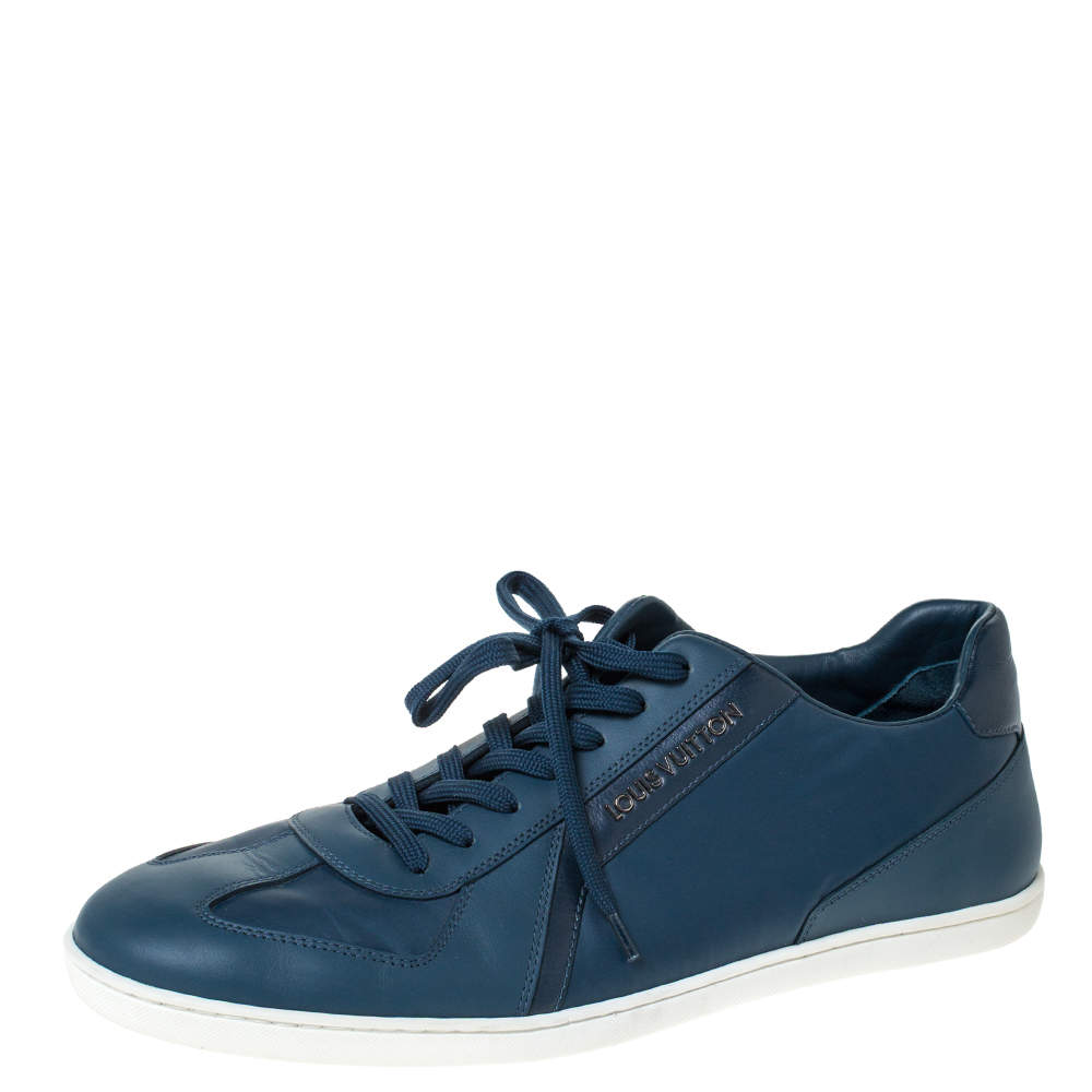 Louis Vuitton Blue Leather Leisure Low Top Sneakers Size 42