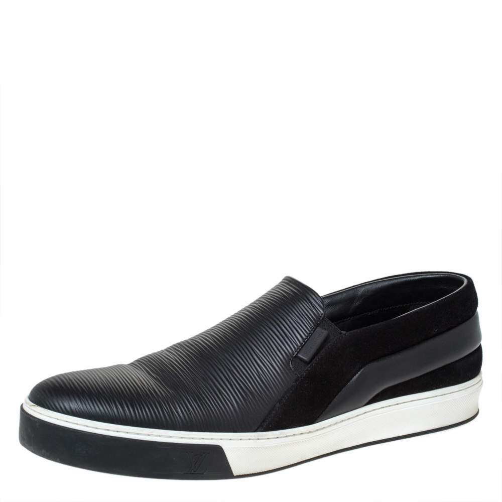 Louis Vuitton Black Epi Leather and Suede Twister Slip-on Sneakers Size 43.5