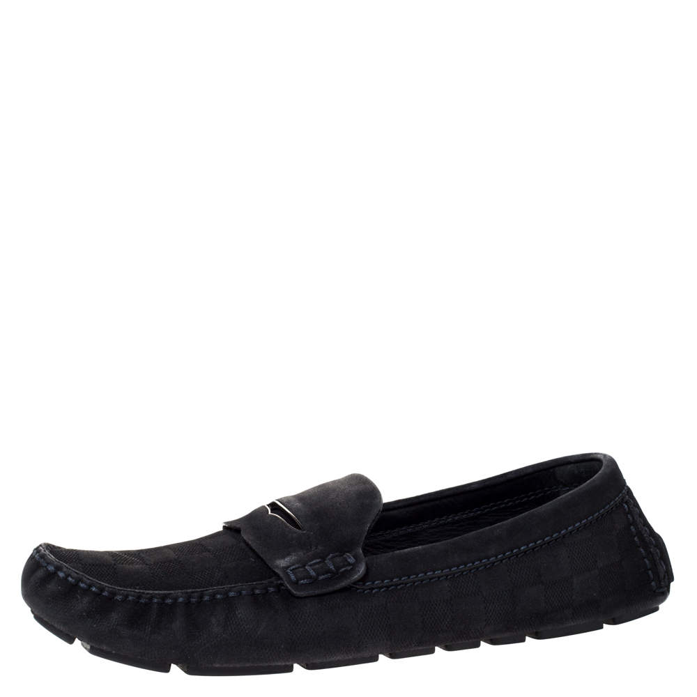 Louis Vuitton Black Suede Leather Slip On Loafers Size 44