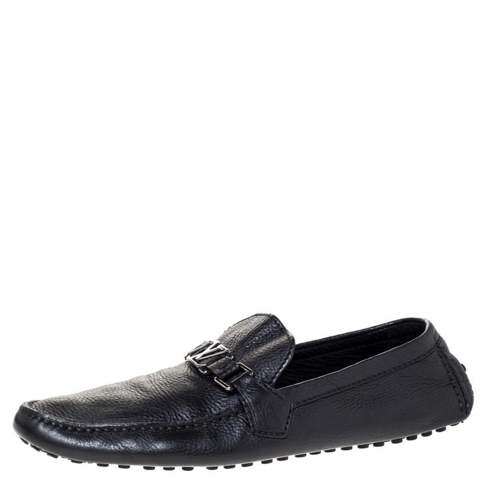 Louis Vuitton Black Leather Hockenheim Loafers Size 44.5