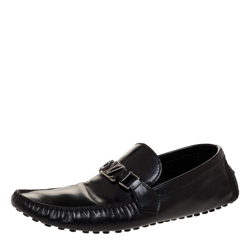 Louis Vuitton Black Leather Monte Carlo Slip On Loafers Size 43