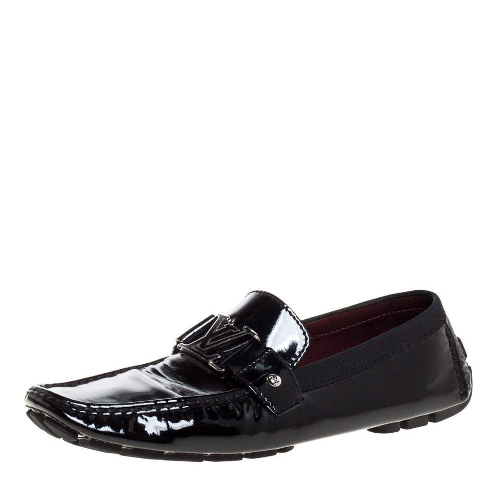 Louis Vuitton Black Patent Leather Monte Carlo Loafers Size 46