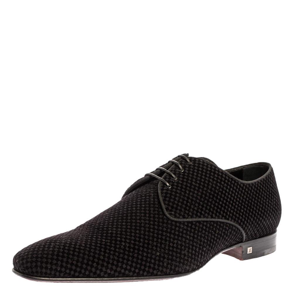 Louis Vuitton Black Petit Damier Velvet Derby Size 44