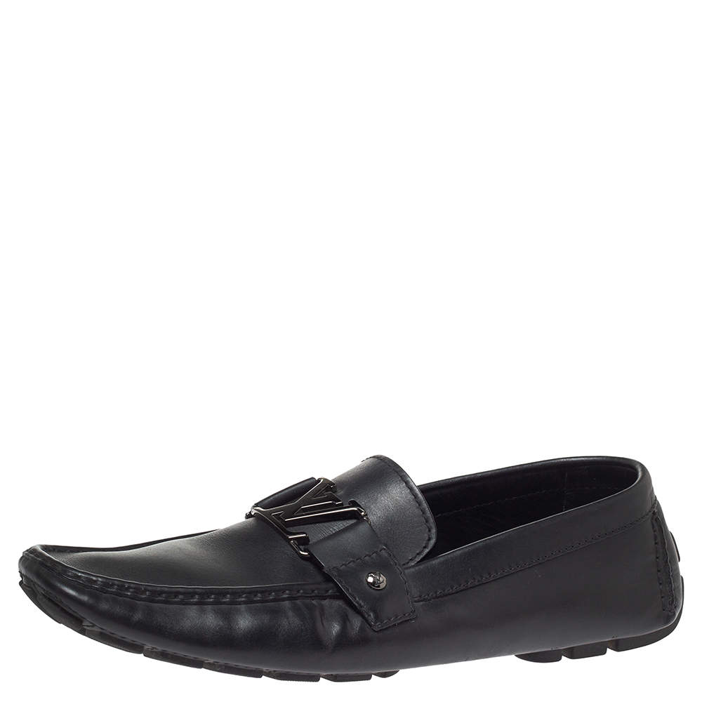 Louis Vuitton Black Grain Leather Driver Loafers Size 45