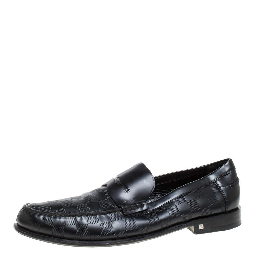 Louis Vuitton Black Leather Damier Infini Hockenheim Loafers Size 44.5