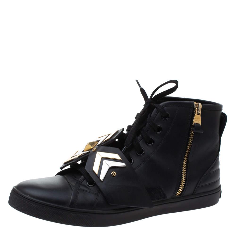 Louis Vuitton Black Leather Karakoram Pattern Punchy Sneaker Boots Size 40