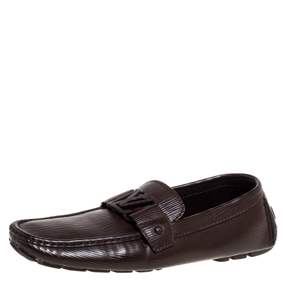 Louis Vuitton Brown Leather Monte Carlo Slip On Loafers Size 41.5