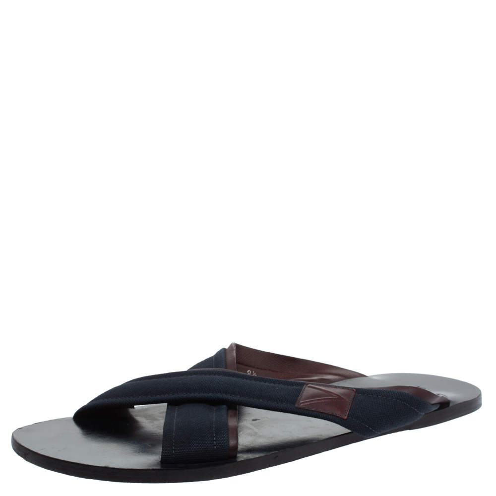 Louis Vuitton Blue Canvas And Brown Leather Trim Cross Strap Flat Slides Size 43.5