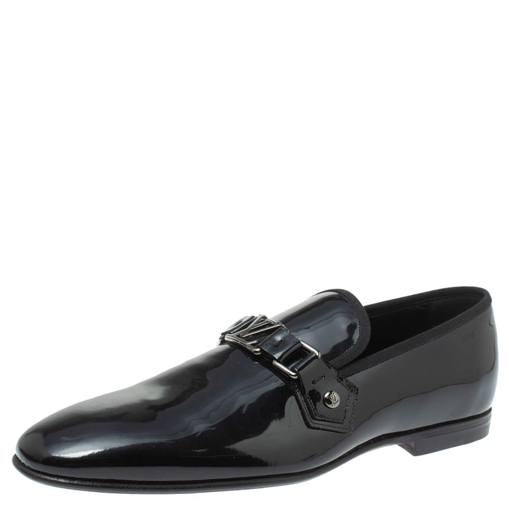 Louis Vuitton Anthracite Patent Leather Glass Dome Loafers Size 41.5
