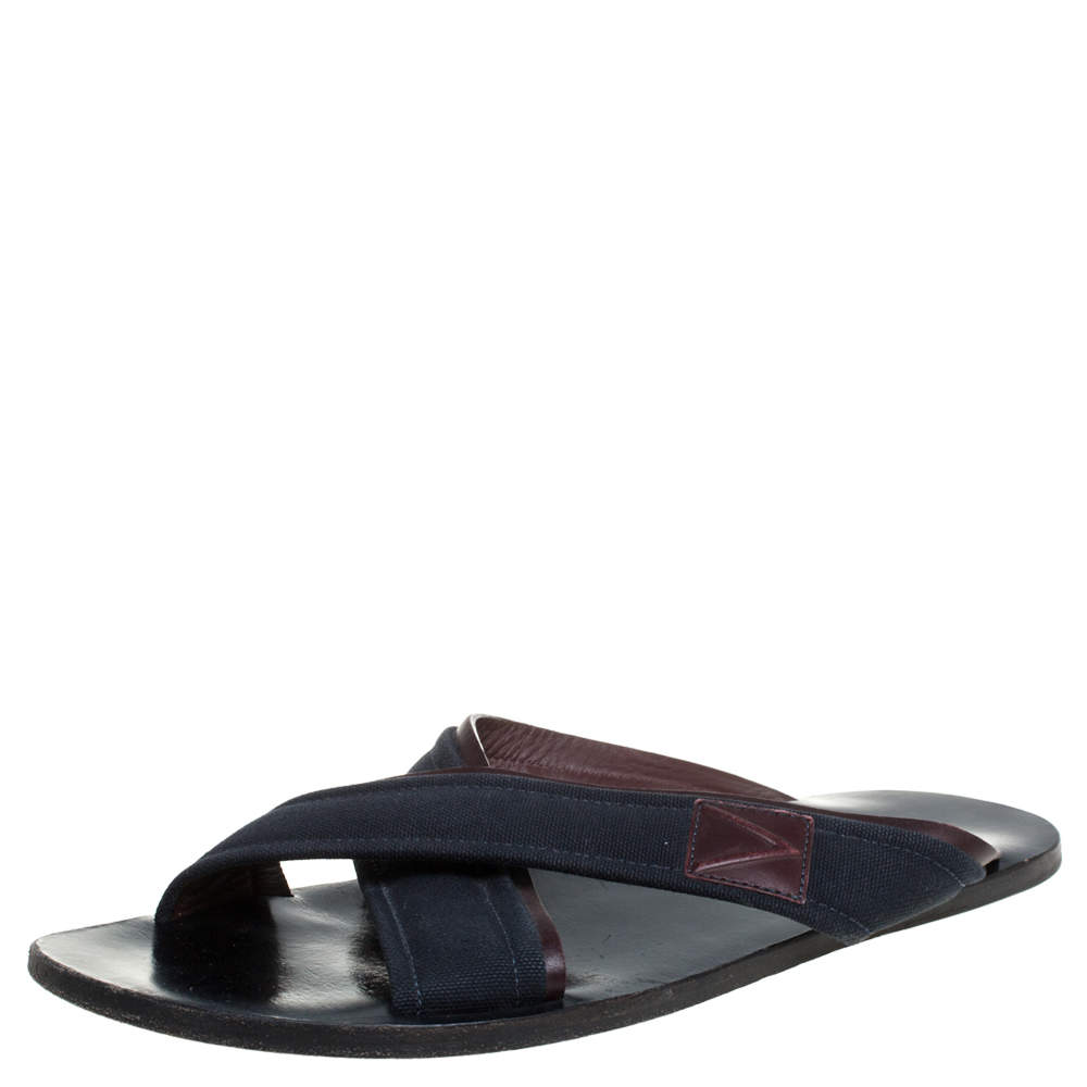 Louis Vuitton Blue/Brown Canvas And Leather Trim Cross Strap Flat Slides Size 43