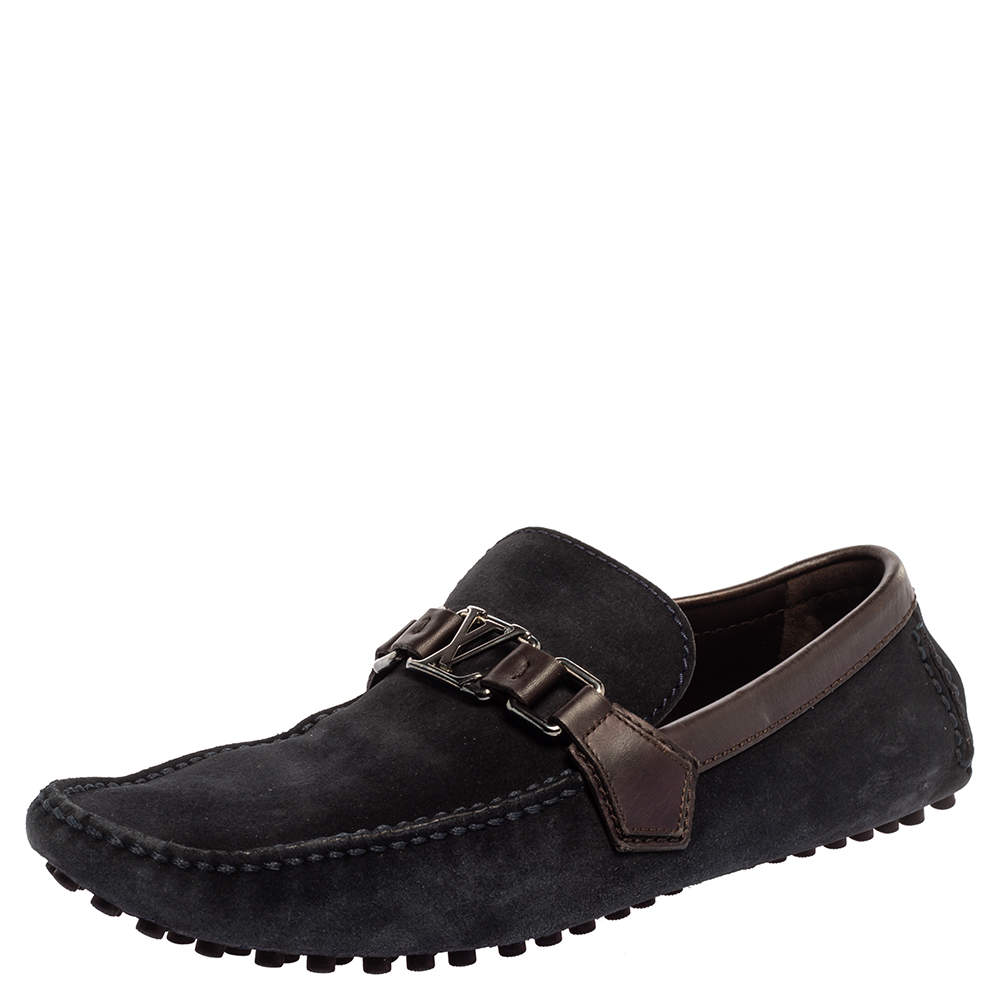 Louis Vuitton Dark Blue/Brown Suede Hockenheim Loafers Size 42