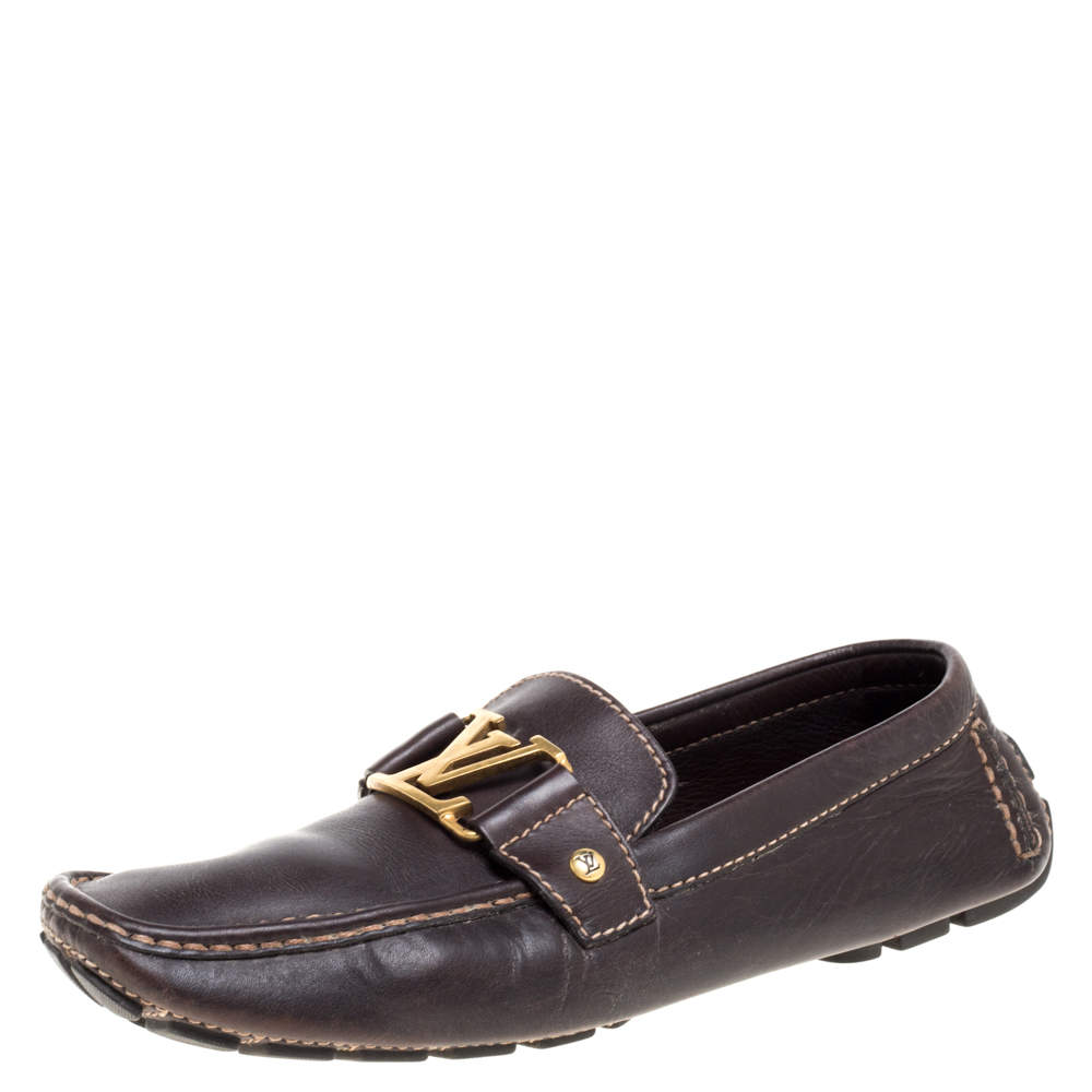 Louis Vuitton Brown Leather Monte Carlo Loafers Size 41.5