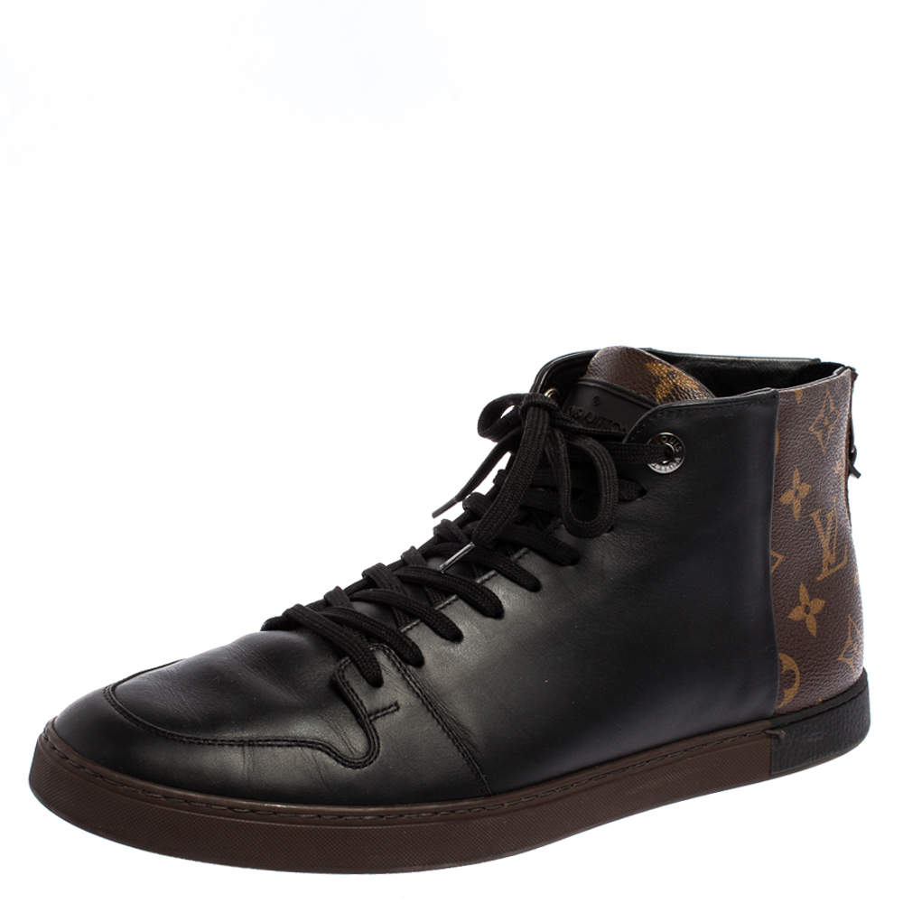 Louis Vuitton Black/Brown Leather and Monogram Canvas Line Up High Top Sneakers Size 41.5