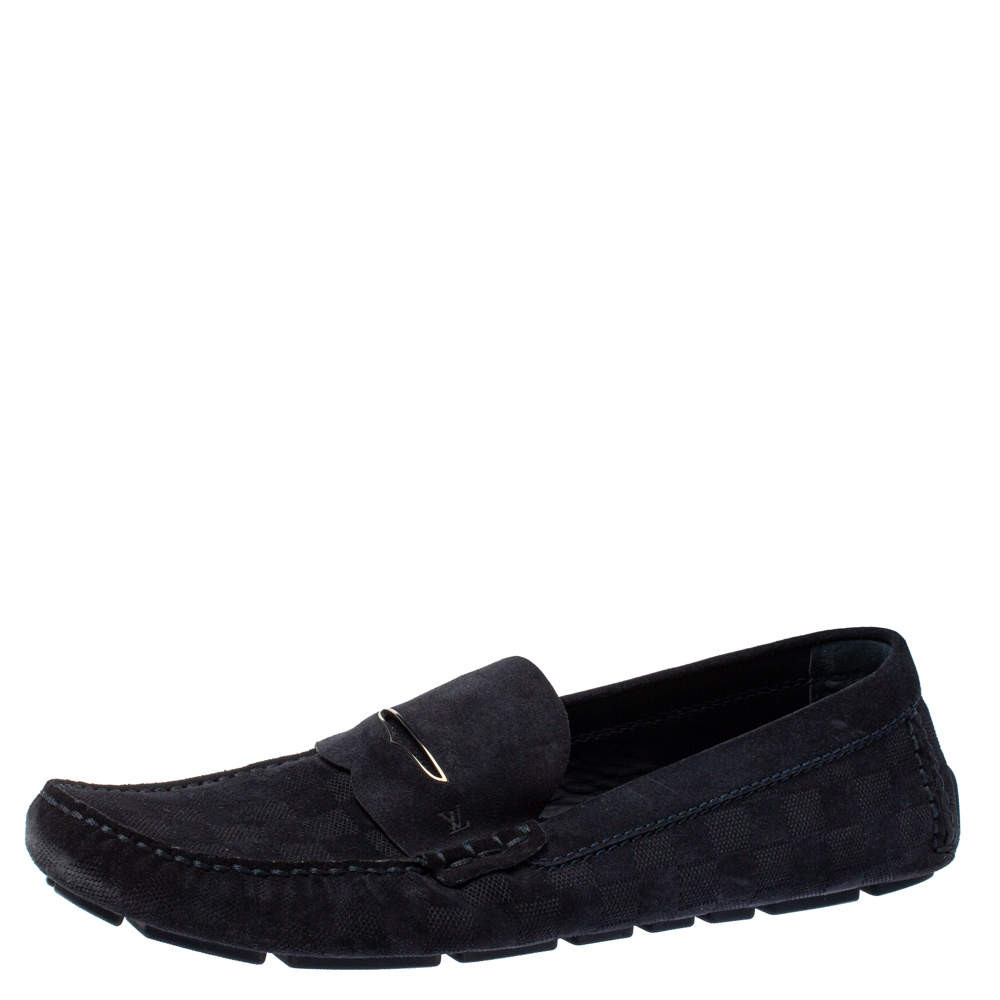 Louis Vuitton Navy Blue Damier Infini Suede Loafers Size 45.5