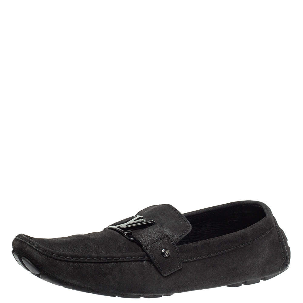 Louis Vuitton Black Suede Leather Monte Carlo Slip On Loafers Size 46