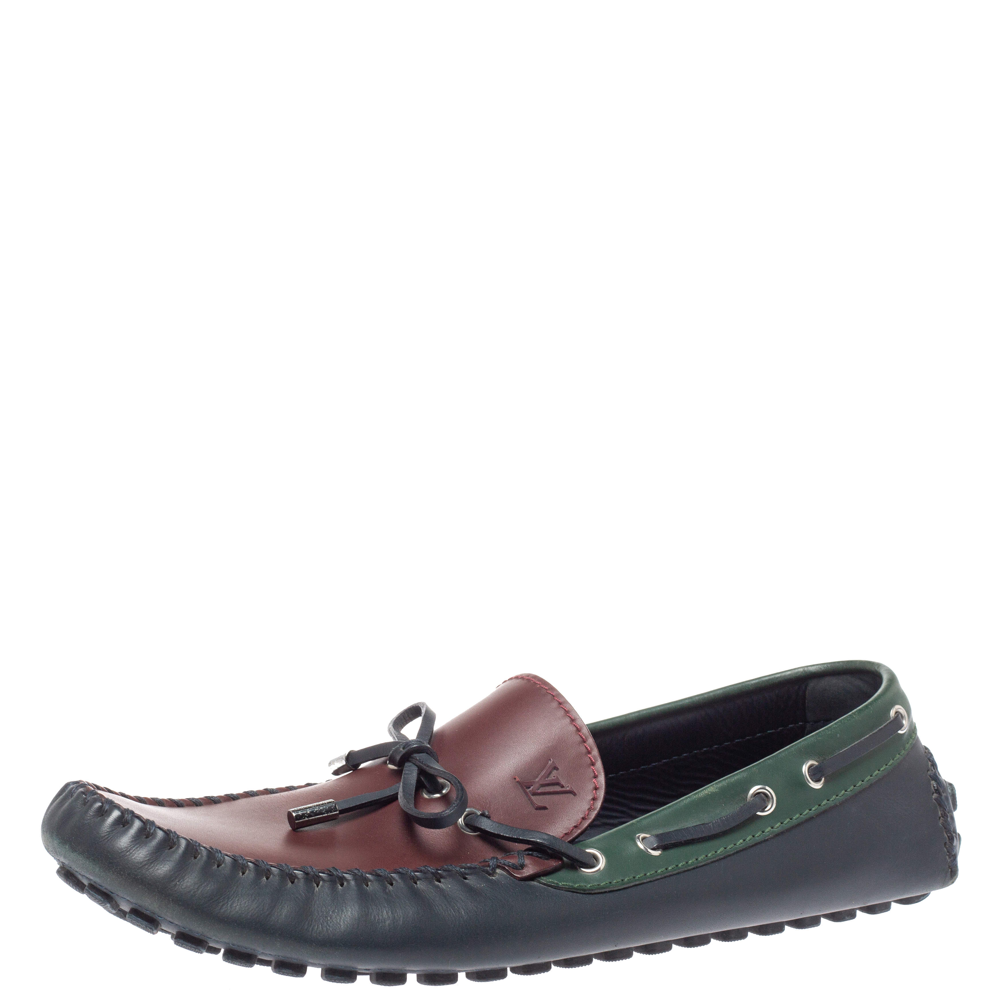 Louis Vuitton Tricolor Leather Arizona Slip On Loafers Size 46.5