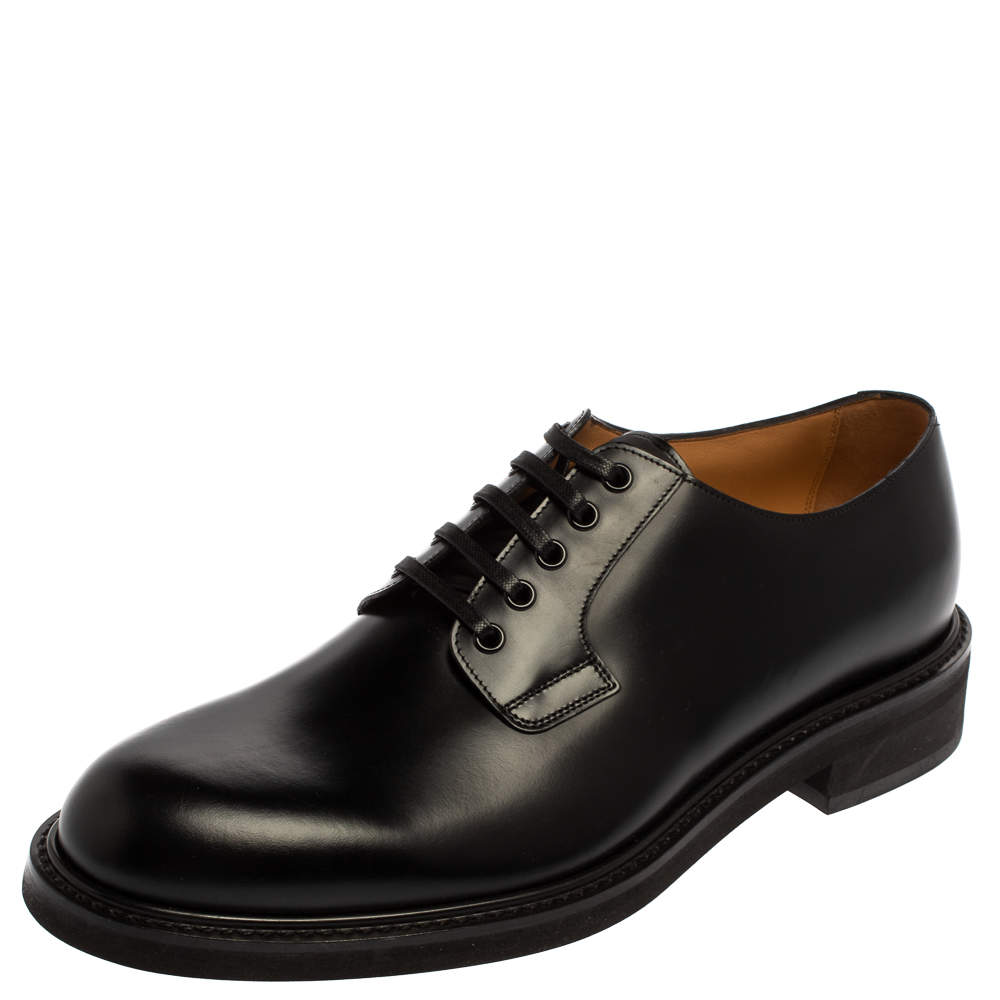 Louis Vuitton Black Leather Lace Up Loafers Size 41.5