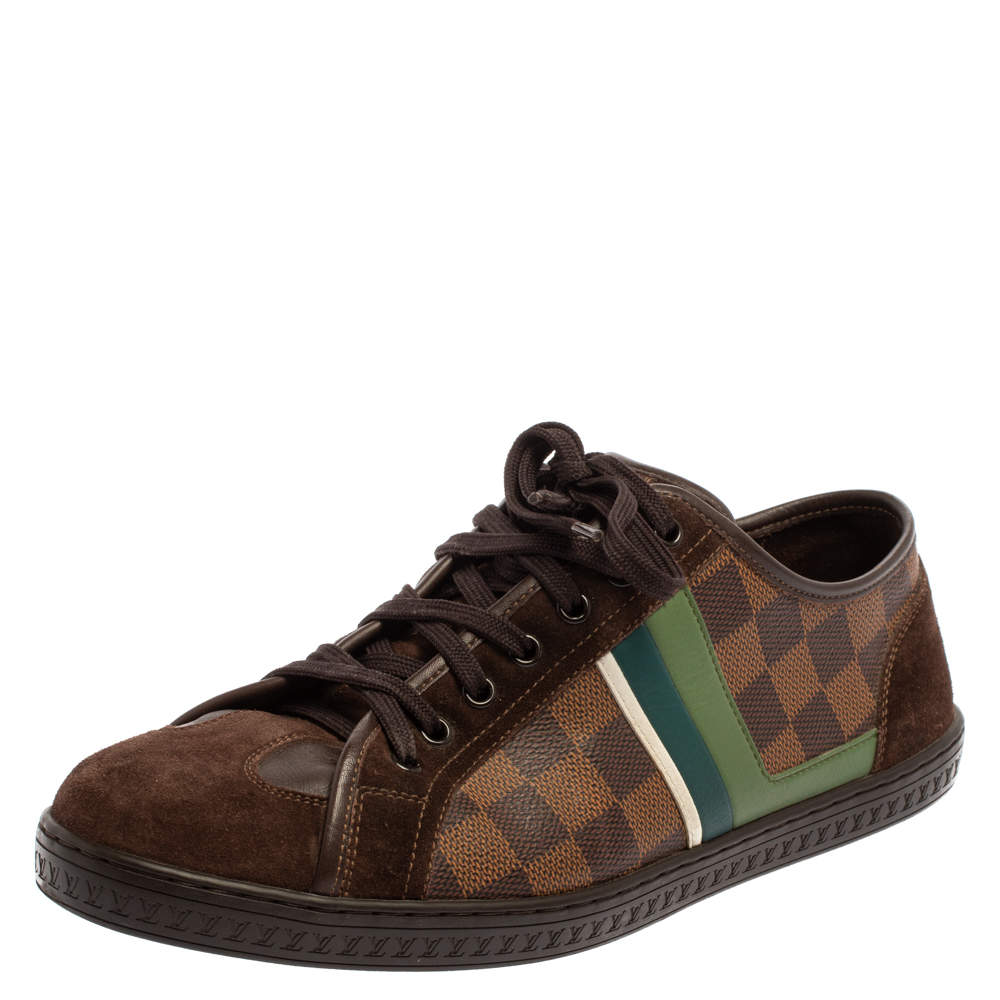Louis Vuitton Brown Suede And Damier Ebene Punchy Ace Low Top Sneakers Size 41
