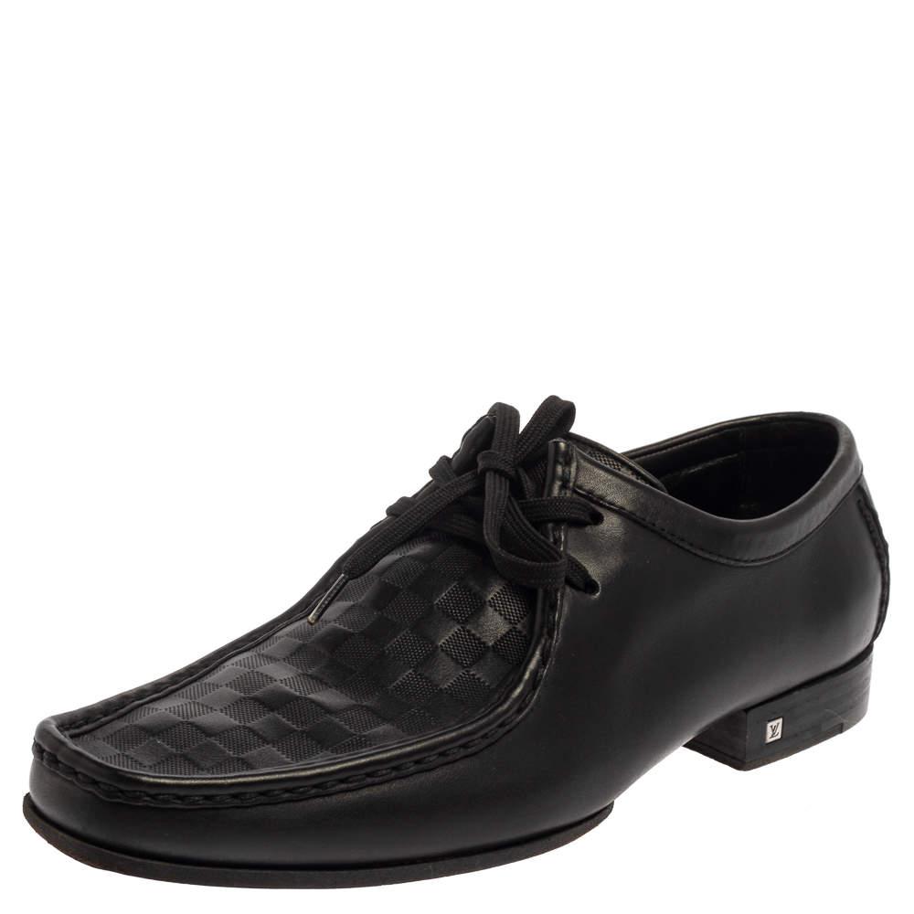 Louis Vuitton Black Damier Leather Derby Moccasins Size 41