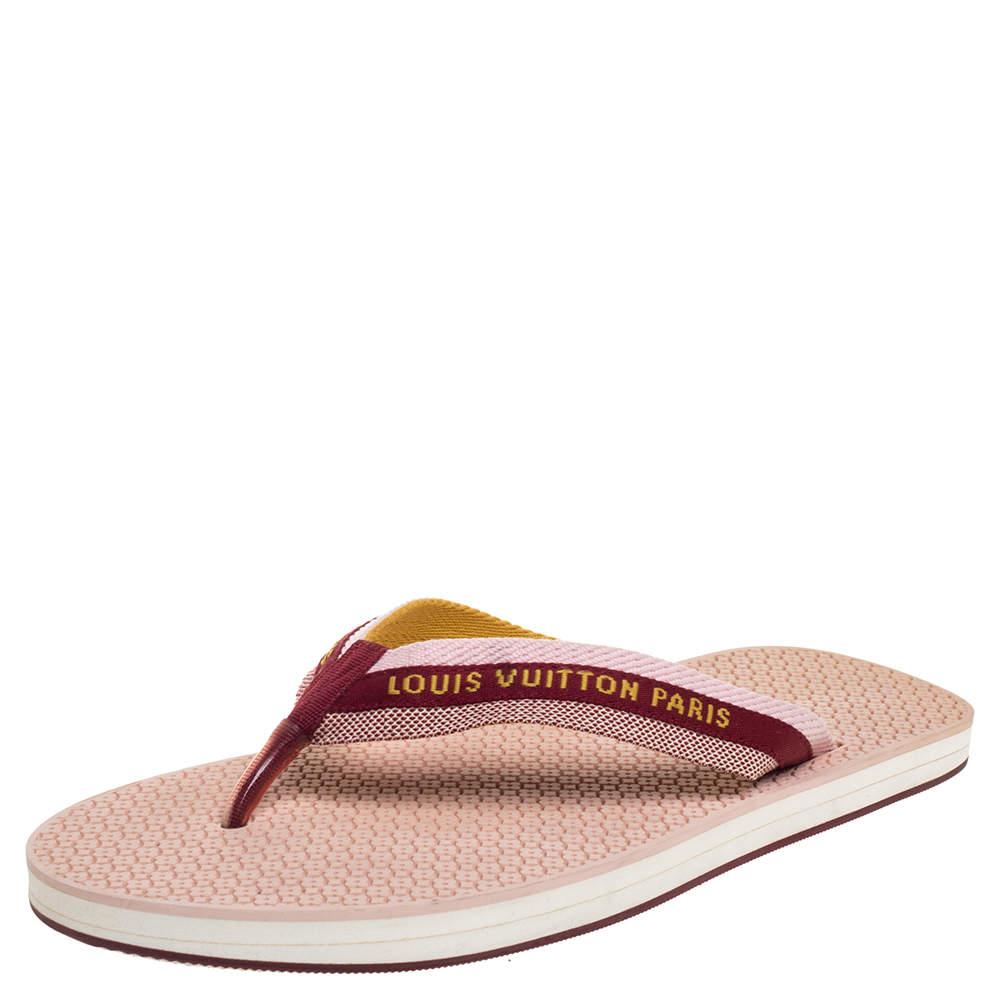 Louis Vuitton Multicolor Nylon Bahia Flip Flops Flat Thong Sandals Size 41