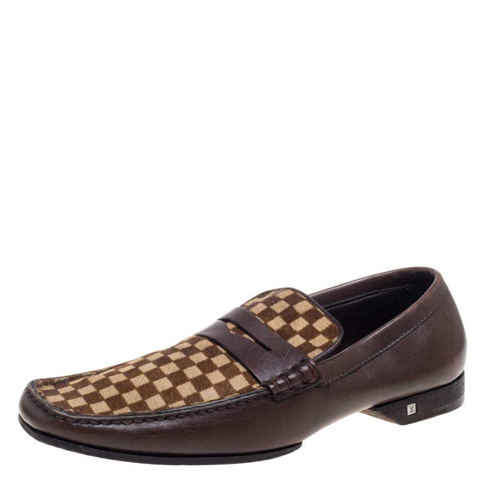 Louis Vuitton Brown/Beige Damier Sauvage Calf Hair And Leather Slip On Loafers Size 42