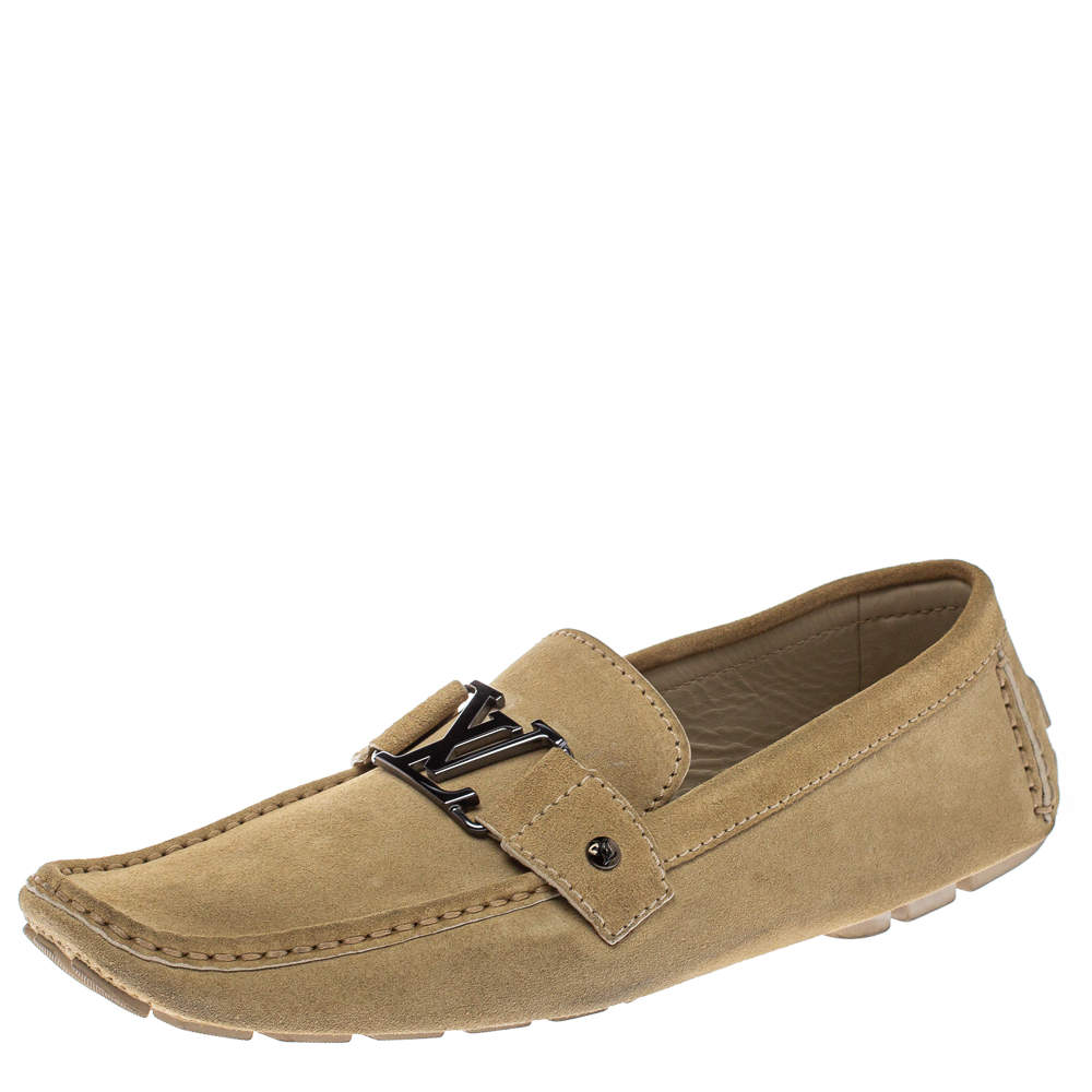 Louis Vuitton Beige Suede Monte Carlo Loafers Size 44.5