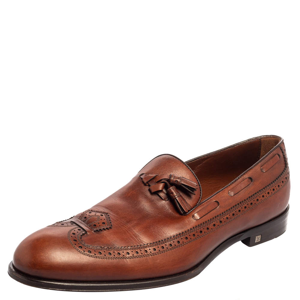 Louis Vuitton Brown Leather Tassel And Brogue Detail Loafers Size 41.5
