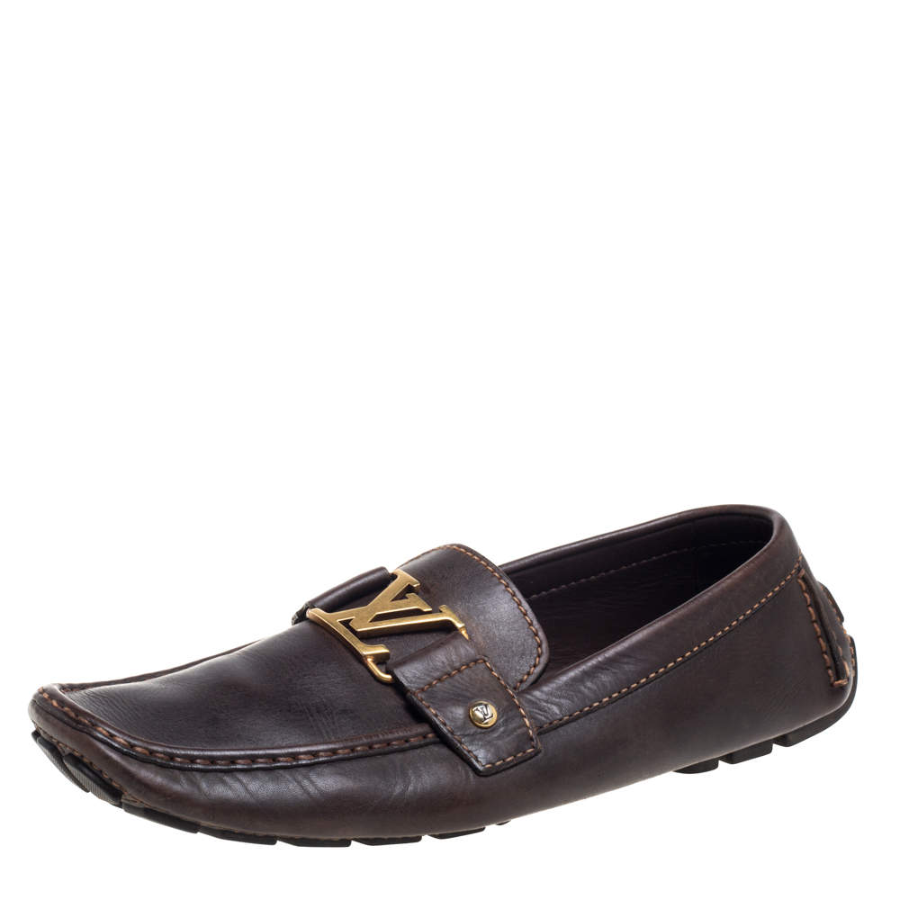 Louis Vuitton Brown Leather Monte Carlo Loafers Size 44